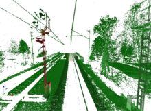 Lichtraumanalyse in Amberg Rail. Die Punktwolke ist dem Grad der Einschränkung entsprechend eingefärbt. Foto: HPA