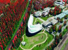 Punktwolke und daraus abgeleitete Baumstandorte: Point Cloud Technology ermöglicht es, über 90 Prozent der Bäume einer Stadt automatisiert zu erfassen. Foto: Point Cloud Technology