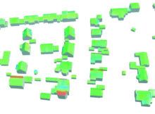 Farbkodierte Visualisierung der Genauigkeitswerte eines 3D-Gebäudemodells im LOD2: Innerhalb der verschiedenen Verfahrensschritte in dem WebGIS PlexMap werden die Ungenauigkeiten zuvor berechnet, analysiert und bewertet. Foto: Geoplex GmbH