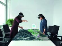 Ein erster Versuch in München wurde bereits im Bereich Augmented Reality gestartet. Dabei wurde das Mesh für einen neuen Stadtteil ausgeschnitten und zusammen mit der geplanten Bebauung visualisiert. Foto: Holo Light