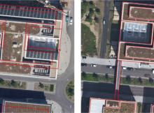 Traditionelles Orthophoto mit Umklappeffekten und verdeckten Bereichen und rechts True Orthophoto automatisch – überlagert mit Gebäudegrundrissen – aus der SURE Software. Foto: Aerowest GmbH
